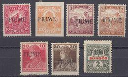 FIUME - 1919 - Lotto Di 7 Valori Nuovi MH: Yvert 1, 4, 5, 24, 25, 27 E 28, Come Da Immagine. - Fiume