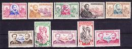 ECUADOR 1949 MIGUEL DE CERVANTES Y SAAVEDRA 400TH BIRTH ANNIV. & JUAN MONTALVO WRITERS USED & MNH SC# 520-524 C202-C206 - Equateur