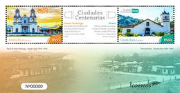 MNH SHEET COSTA RICA, 2019 Centenary Cities Churches Orosi Santo Domingo Heredia - Costa Rica