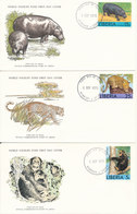 Liberia WWF FDC 1-9-1976 Set Of 3 On 3 Covers With Cachet - Liberia