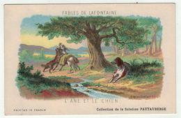 """Carte Publicitaire Avec Fables De Lafontaine """" L'âne Et Le Chien """" (texte Au Dos) - Vieux Papiers"""