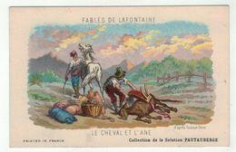 """Carte Publicitaire Avec Fables De Lafontaine """" Le Cheval Et L'âne """" (texte Au Dos) - Vieux Papiers"""