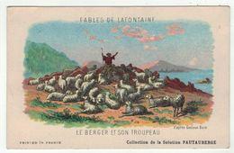 """Carte Publicitaire Avec Fables De Lafontaine """" Le Berger Et Son Troupeau """" (texte Au Dos) - Vieux Papiers"""