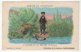"""Carte Publicitaire Avec Fables De Lafontaine """" L'enfant Et Le Maitre D'école """" (texte Au Dos) - Vieux Papiers"""