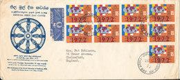 Sri Lanka FDC 26-5-1972 World Fellowship Of Buddhists 10th Conference 9 Stamps Sent To England - Sri Lanka (Ceylon) (1948-...)