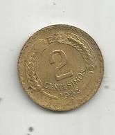 Monnaie , CHILI ,  2 Centesimos, Republica De CHILE , 1965 , 2 Scans - Chile
