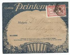 MERSON 40C SEUL ETIQUETTE AU PRINTEMPS PARIS 1923 POUR SUISSE - 1900-27 Merson