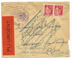 PAIX 50CX2 LETTRE EPINAL VOSGES 1940 POUR HAUTE MARNE + ETIQUETTE PLI URGENT - Postmark Collection (Covers)