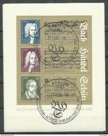 """DDR Bl.81 """"300 Geb.-Tag Von J.S.Bach U. G.F.Händel Und 400. Geb.-Tag Von H. Schütz""""  Sonderstempel. Mi.-Preis 3,00 - Blocs"""
