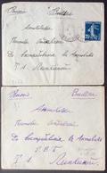 V51-2 Semeuse 25c Vers Russie (2 Lettres) Arpajon Seine Et Oise 1911 - Postmark Collection (Covers)
