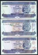 Solomon Islands - 5 Dollars 1986 P14a + 5 Dollars 2018 P26(4) + 5 Dollars 1997 P19 - Isla Salomon