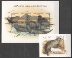 N337 1997 AZERBAIJAN ANIMALS MARINE MAMMALS 1KB+1BL MNH - Autres