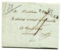 HAUTE VIENNE De LIMOGES LAC Du 27/07/1809 Linéaire 31x10 Et Taxe De 4 Pour CHENERAILLES - Marcophilie (Lettres)