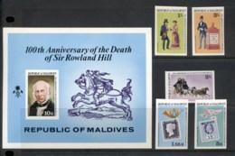 Maldive Is 1979 Sir Rowland Hill Death Centenary +MS IMPERF MUH - Maldives (1965-...)