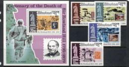 Bhutan 1979 Sir Rowland Hill Death Centenary +MS MUH - Bhutan