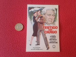 SPAIN PROGRAMA DE CINE FOLLETO MANO CINEMA PROGRAM PROGRAMME FILM PELÍCULA TESTIGO CARGO TYRONE POWER MARLENE DIETRICH - Publicidad