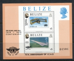 Belize 1979 Sir Rowland Hill Death Centenary, Powered Flight MS MUH - Belize (1973-...)