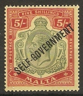 MALTA 1922 5s SG 113 LIGHTLY MOUNTED MINT TOP VALUE OF THE SET Cat £60 - Malte (...-1964)