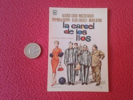 SPAIN ANTIGUO PROGRAMA DE CINE FOLLETO MANO OLD CINEMA PROGRAM PROGRAMME FILM PELÍCULA LA CÁRCEL LOS LÍOS ALBERTO SORDI - Publicidad