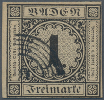 Baden - Marken Und Briefe: 1851, 1 Kreuzer Schwarz Auf Sämisch Entwertet Mit 5-Ringstempel, Allseits - Baden