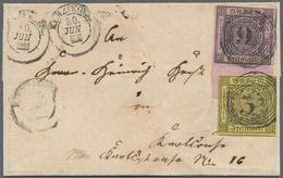 Baden - Marken Und Briefe: 1851/52, 3 Kr. Schwarz Auf Gelb Und 9 Kr. Schwarz Auf Lilarosa Mit 14 Mm - Baden