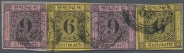 Baden - Marken Und Briefe: 1851, Ziffern 2x 9 Kr. Auf Rosa Und 1853, 2x 6 Kr. Auf Gelb Auf Briefstüc - Baden