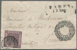 """Baden - Marken Und Briefe: 1851, 9 Kreuzer Schwarz Auf Lilarosa, Entwertet Mit Fünfringstempel """"8"""" U - Baden"""
