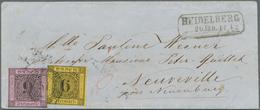Baden - Marken Und Briefe: 1851/53, Ziffern 9 Kr. Auf Lilarosa Und 1853, 6 Kr. Auf Gelb Als Ausgaben - Baden