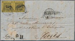 Baden - Marken Und Briefe: 1854 Waagerechtes Paar Der 6 Kr. Schwarz/gelb Auf Komplettem Faltbrief 18 - Baden