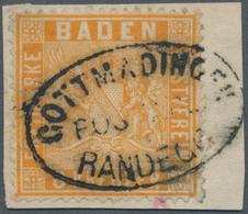 Baden - Marken Und Briefe: 1860 6 Kr Hellgelborange (kleines Risschen Sonst Tadellos) Auf Briefstück - Baden