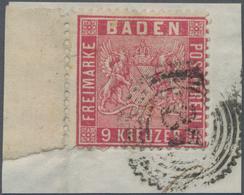 Baden - Marken Und Briefe: 1860, Wappen 9 Kr. Karmin Mit 11 Mm Linkem Rand Auf Briefstück Mit Nr.-St - Baden