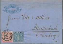Baden - Marken Und Briefe: 1862 Wappen Auf Liniertem Grund 6 Kr (preussisch)blau Und 3 Wappen Auf We - Baden