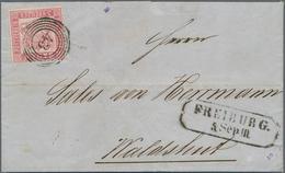 """Baden - Marken Und Briefe: 1862, 3 Kreuzer Rosakarmin Entwertet Mit 4-Ringstempe """"43"""" FREIBURG Auf F - Baden"""