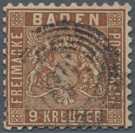 """Baden - Marken Und Briefe: 1862, 9 Kreuzer Dunkelbraun Entwertet Mit Zackenkranzstempel """"87"""" Von Man - Baden"""