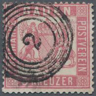 """Baden - Marken Und Briefe: 1862, 3 Kreuzer Rosa Gezähnt K 13 1/2 Entwertet Mit 5-Ringstempel """"2"""" Von - Baden"""