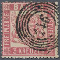 """Baden - Marken Und Briefe: 1862, 3 Kreuzer Rosa Gezähnt K 13 1/2 Entwertet Mit 5-Ringstempel """"146"""" V - Baden"""