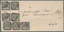 Baden - Marken Und Briefe: 1864, 1 Kr. Schwarz, DREI WAAGERECHTE PAARE Und Ein Einzelstück, Als Port - Baden