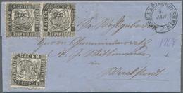 Baden - Marken Und Briefe: 1862, Wappen Auf Weißem Grund 1 Kreuzer In C-Farbe Dunkelgrau, Paar Und E - Baden