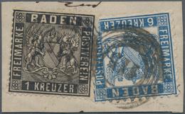 Baden - Marken Und Briefe: 1860/64, Briefstück Mit Wappen 1 Kr. Schwarz Eng Gezähnt, Linierter Grund - Baden