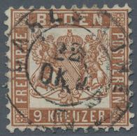 Baden - Marken Und Briefe: 1866/1868, 9 Kreuzer Dunkelbraun Zentrisch Klar Entwertet Mit K2 Karlsruh - Baden