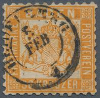 Baden - Marken Und Briefe: 1862, 30 Kreuzer Gelborange Entwertet Mit K2 Heidelberg, Die Marke Ist Fa - Baden