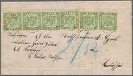 Baden - Marken Und Briefe: 1868: 1 Kreuzer Hellgrün, 3 Waagerechte Paare Als Seltene Mehrfachfrankat - Baden