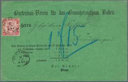 """Baden - Marken Und Briefe: 1868, Grüne Nachnahme-Vordruck-Karte Mit EF 3 Kr. Rot Mit K2 """"KARLSRUHE 1 - Baden"""