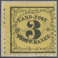 Baden - Landpostmarken: 1862, Ziffer Im Rankenwerk 3 Kr Schwarz Auf Hellgrünlichgelb, Dünneres Papie - Baden