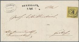 """Baden - Landpostmarken: 1863, 3 Kr Schwarz Auf Gelb, Zentrisch U. Klar Entwertet Mit Nummernstpl. """"5 - Baden"""