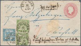 Baden - Ganzsachen: 1866/68: Ganzsachenumschlag 3 Kr. Rosa Mit 1 Kr. Lebhaftgrün Im Senkrechten Paar - Baden
