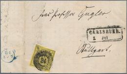 Baden - Nummernstempel: 1851, FREMDENTWERTUNG: Württemberg, 3 Kr Schwarz A. Gelb, übergehend Und Kla - Baden