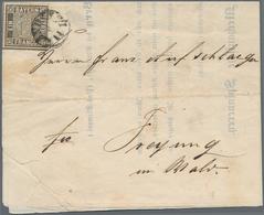 """Bayern - Marken Und Briefe: 1849, 1 Kreuzer Schwarz, Platte 1, Entwertet Mit Fingerhutstempel """"LANDA - Beieren"""