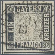 Bayern - Marken Und Briefe: 1849, 1 Kreuzer Schwarz, Platte 1, Vom Unteren Bogenrand, Entwertet Mit - Beieren