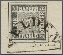 Bayern - Marken Und Briefe: 1849, SCHWARZER EINSER 1 Kreuzer Grauschwarz, Platte 1, Briefstück Mit H - Beieren